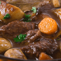 Meat and vegetable casserole in a pot.