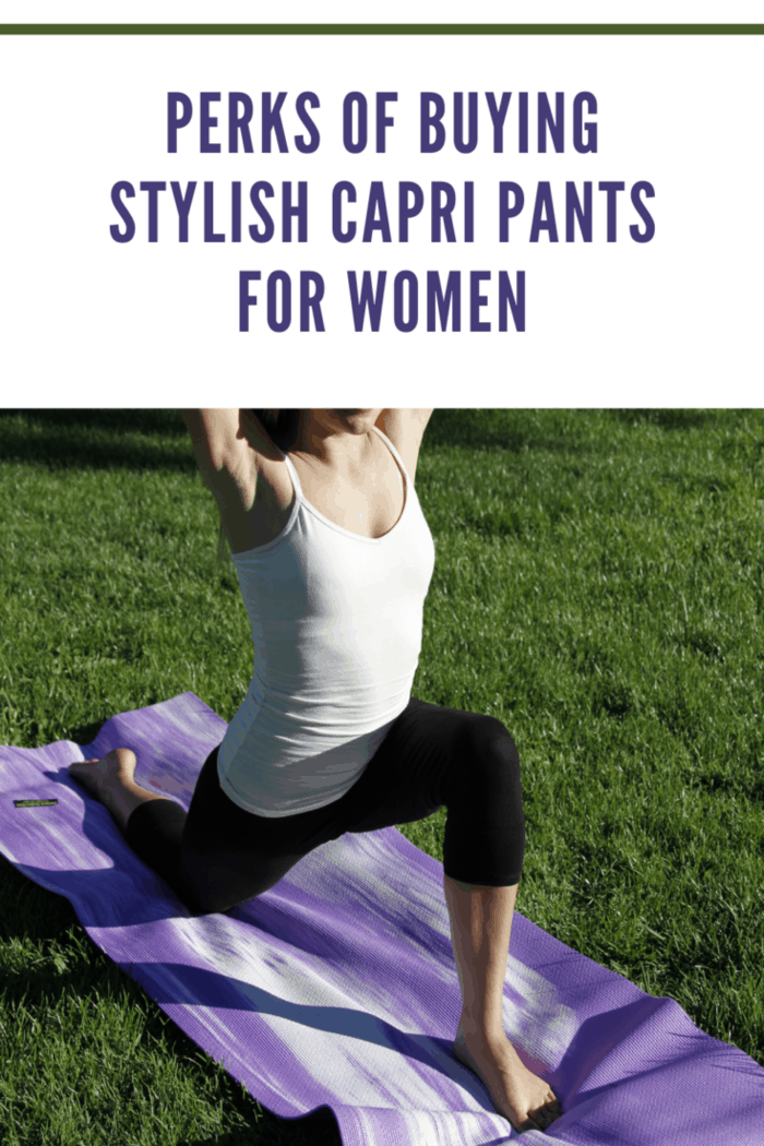 Yoga in the park woman in workout capris