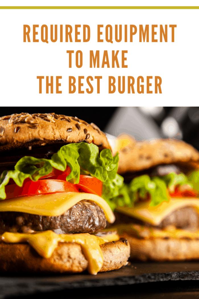 Delicious grilled hamburgers on dark background