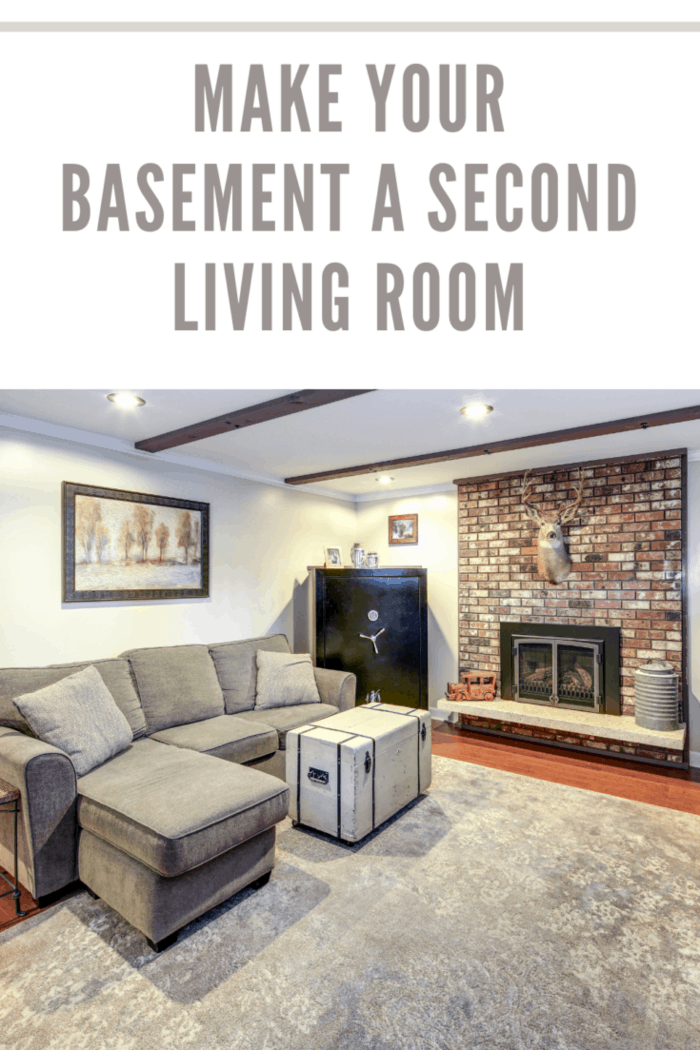 basement living room in neutral colors