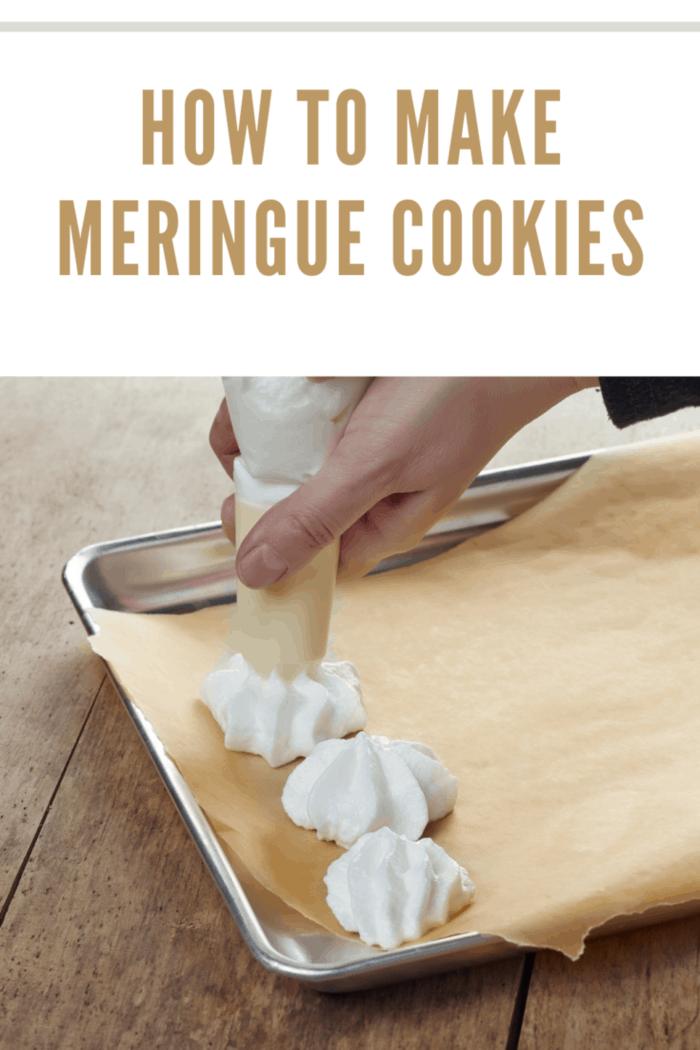making meringue cookies on a cooking pan