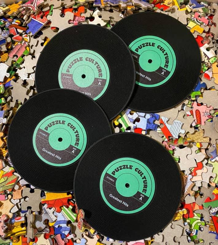puzzle culture vinyl record coasters