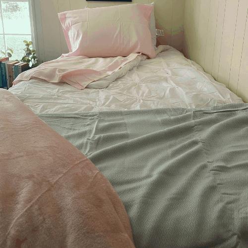 cooling blanket on bottom of bed