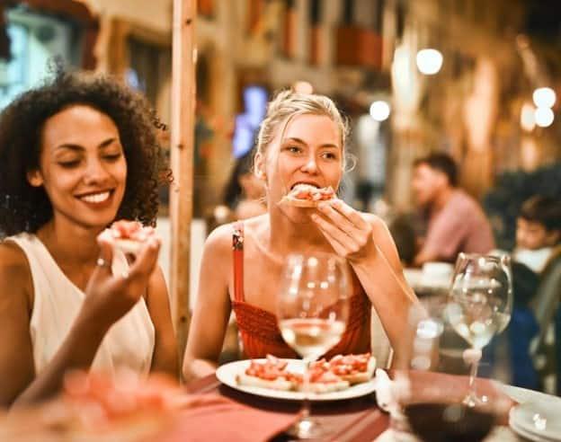 girls eating in a restaurant