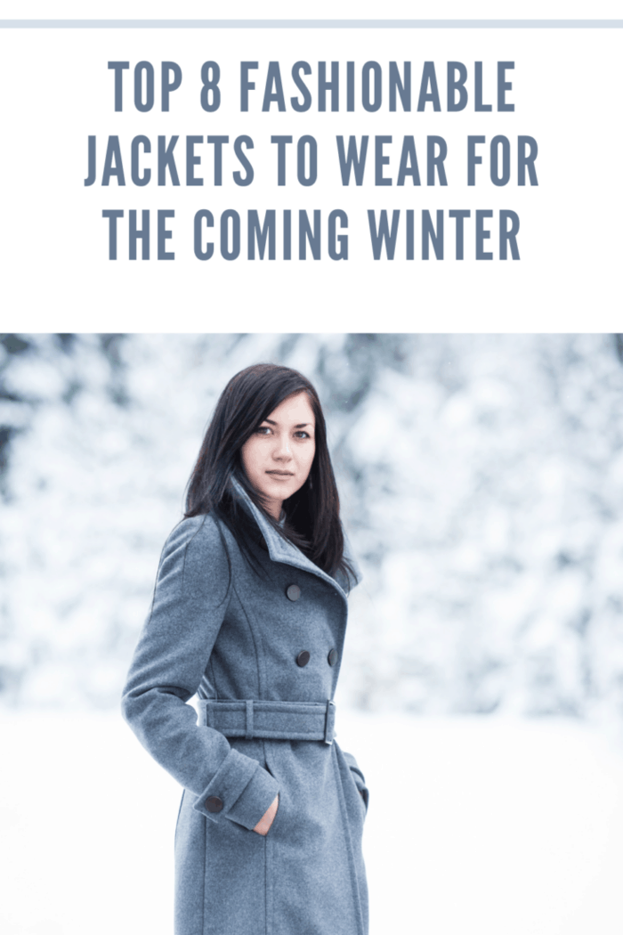 A beautiful young woman in a grey jacket in the winter.