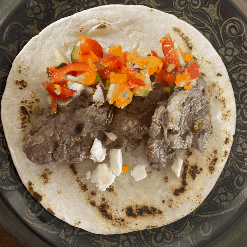 caramelized iberico pork tacos with pineapple salsa