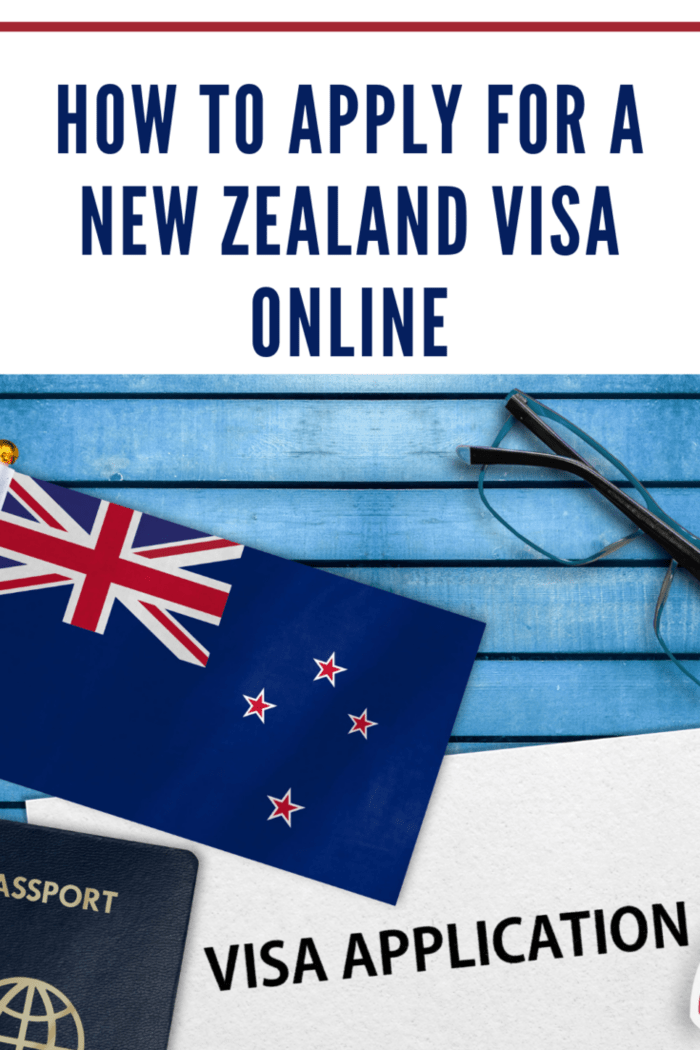 New Zealand Visa application form and flag of New Zealand.