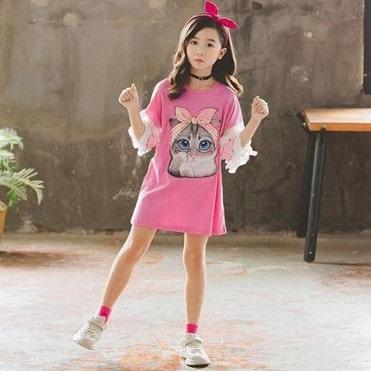 Pink cute kittens dress