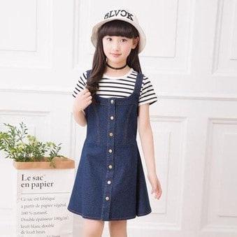 classy kidswear blue denim dress