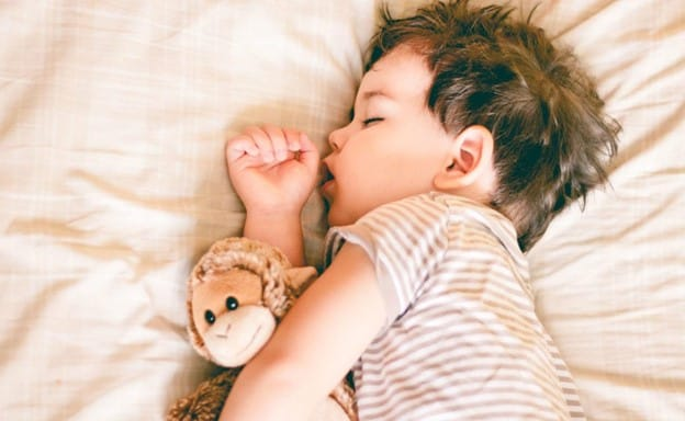 toddler sleeping hugging monkey