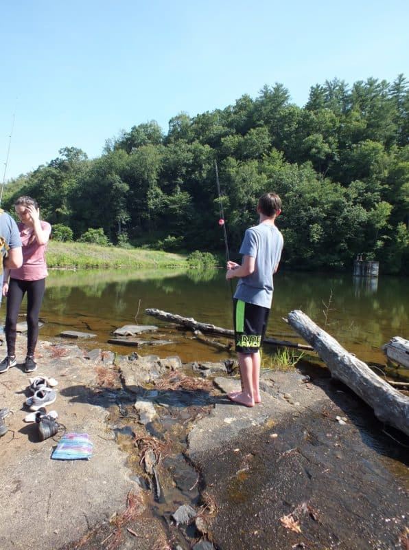 Cooper checks out the lake, while MacKenzie, William and Colby are getting out their fishing gear