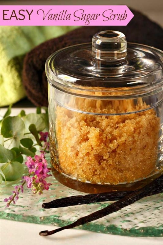 vanilla scrub in glass container