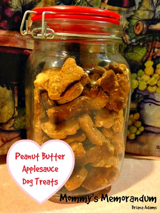 Homemade dog treats with peanut butter and applesauce