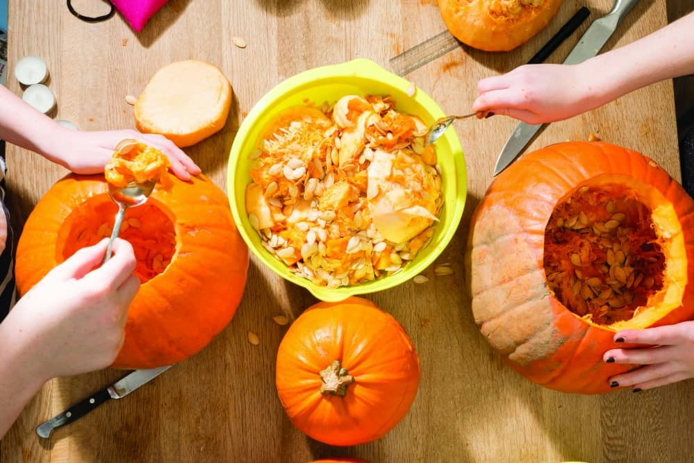 Use a scoop to completely empty the inside of the pumpkin of flesh and seeds.