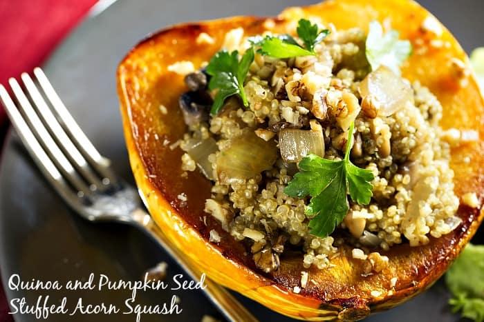 Quinoa and Pumpkin Seed Stuffed Acorn Squash #Recipe