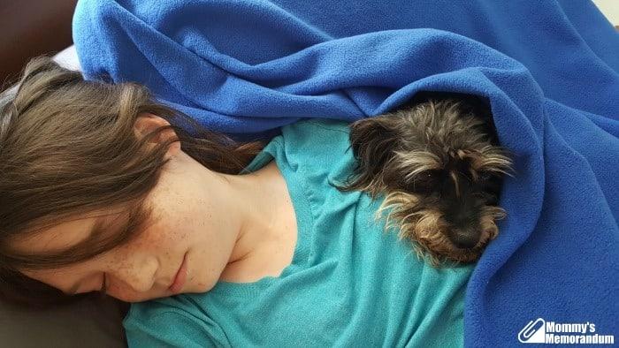 bailey mae loving on sick miss m