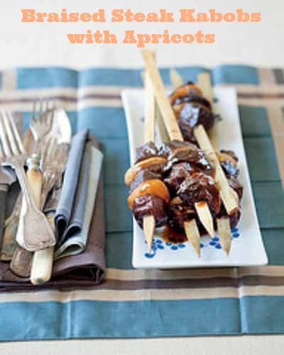 braised steak kebabs with Apricots