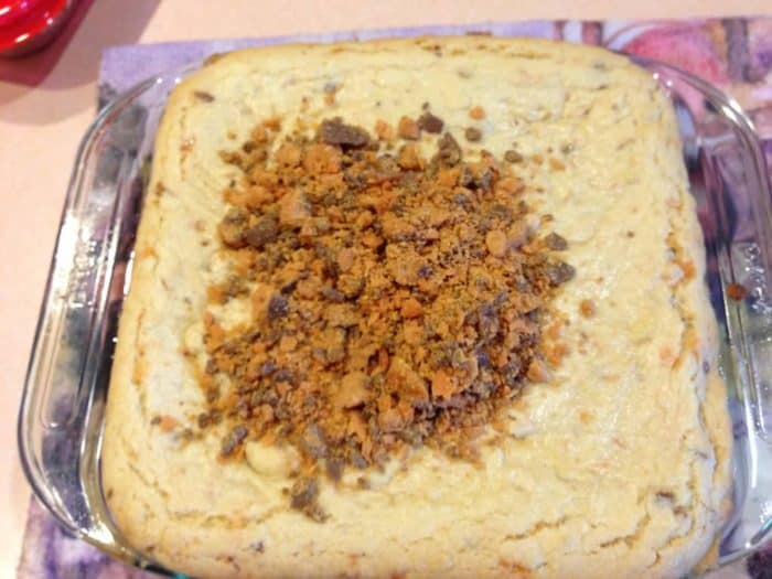 butterfinger cookie bars candy bars out of the oven
