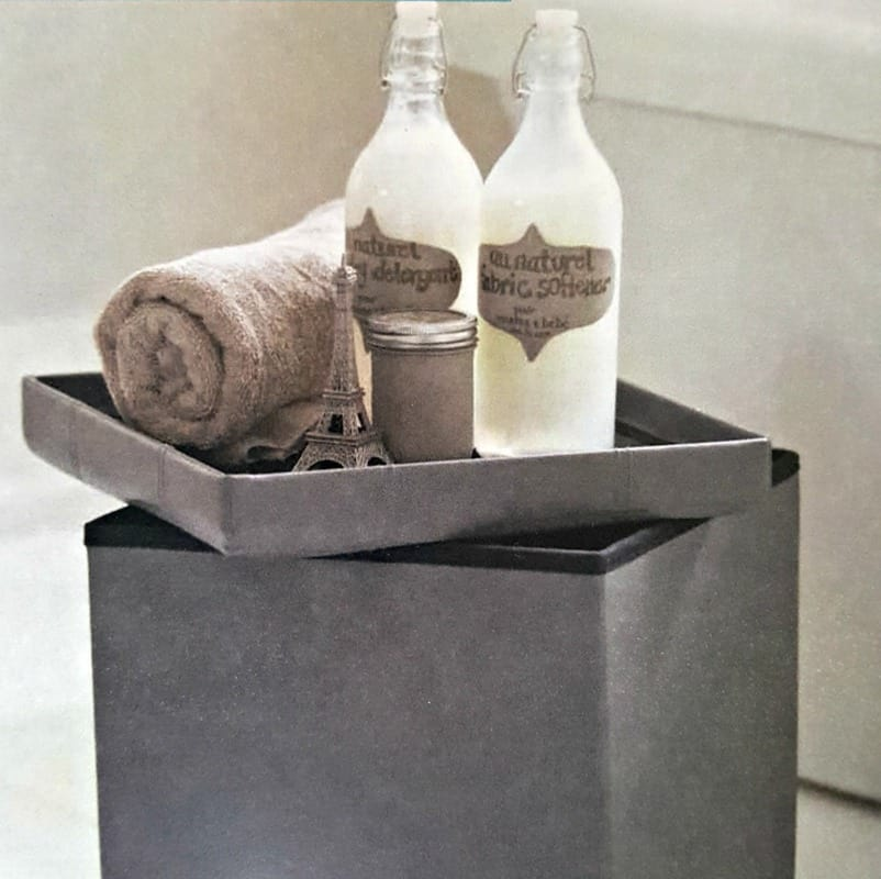 foldable storage ottoman as a table