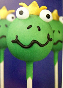 frog prince cake pops