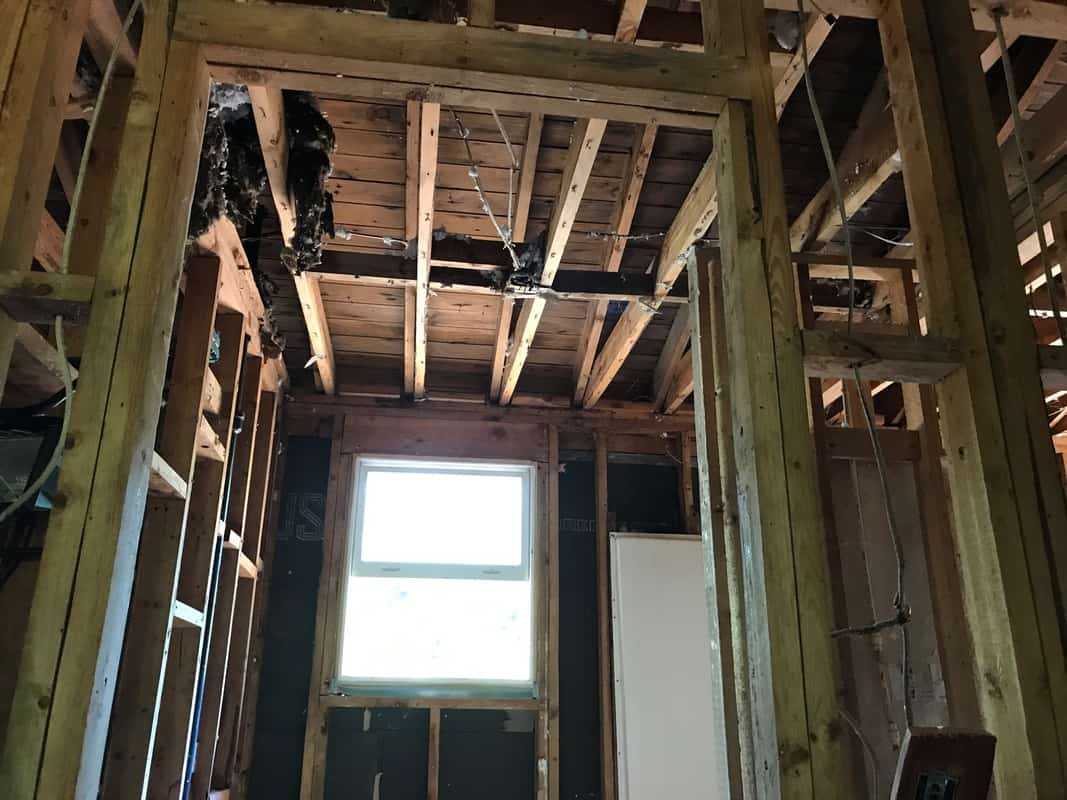home remodel bathroom ceiling down