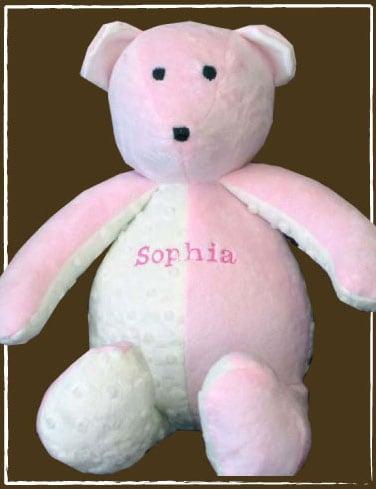 pink minky bear