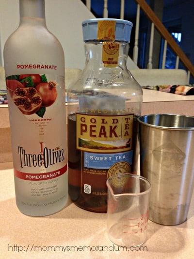 pomegranate three olives iced tea