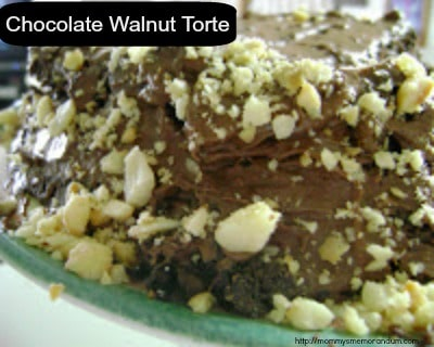 rich and delicate Dark Chocolate Walnut Torte recipe