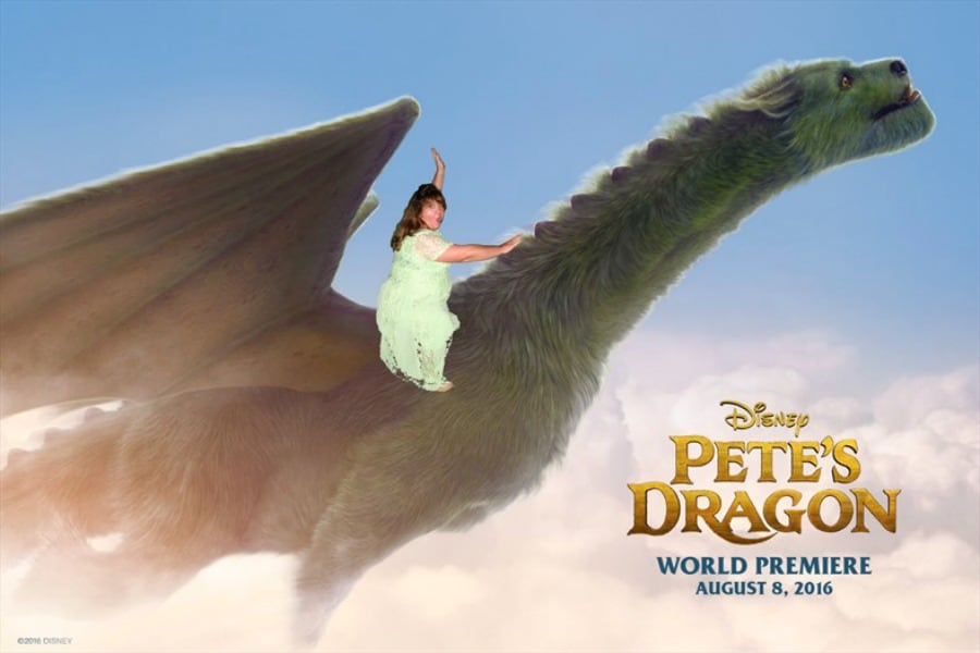 riding pete's dragon at the world premiere