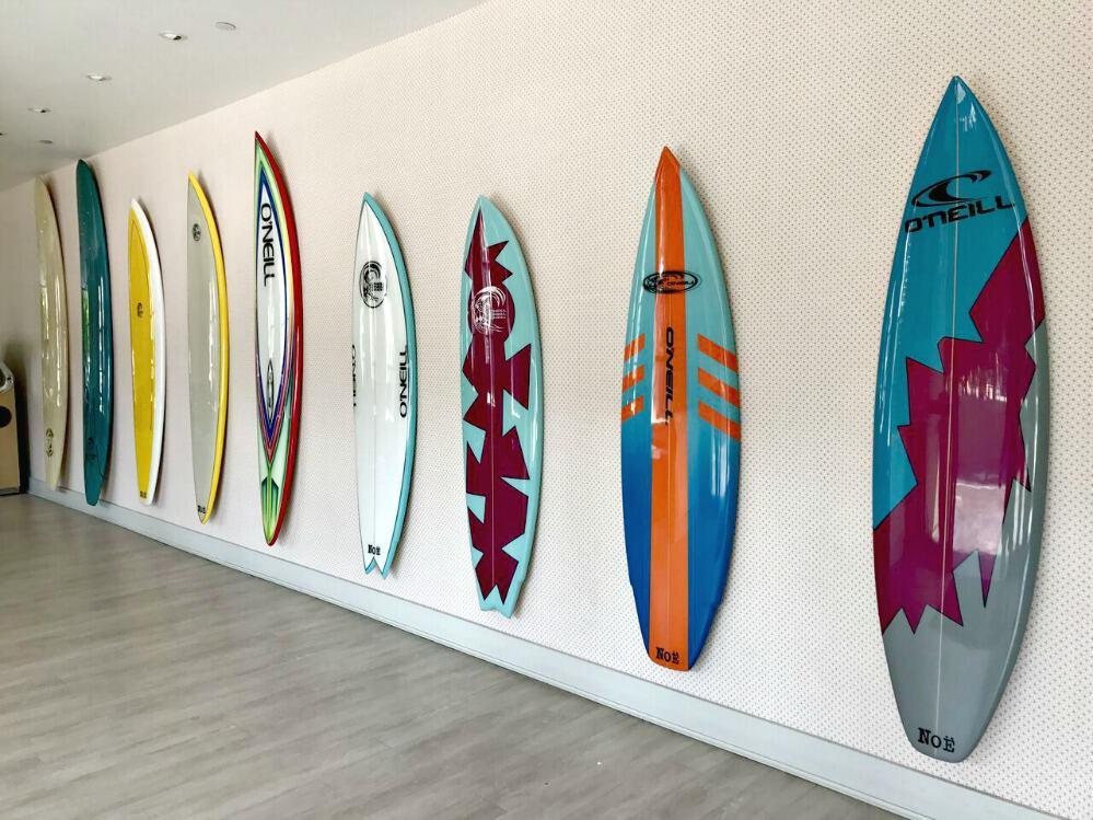 santa cruz dream inn surfboards on wall
