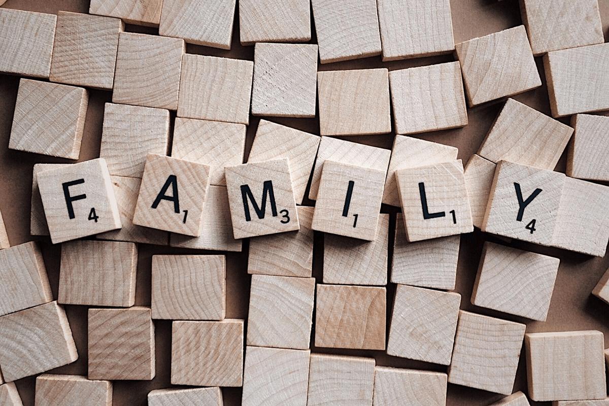 scrabble tiles spell family
