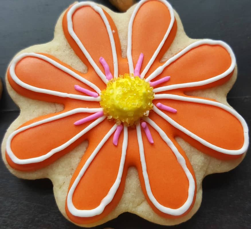 stella and flo orange cookie with yellow center