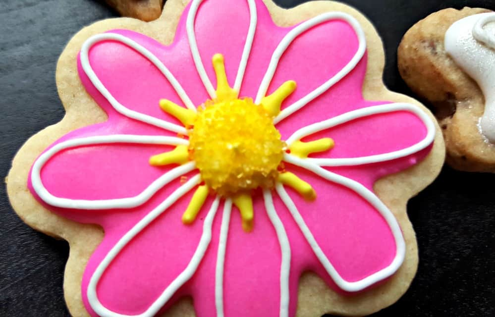 stella and flo pink cookie with yellow center